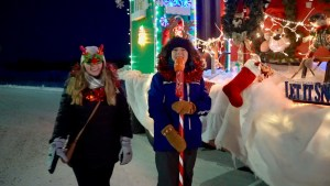 Sarah Sibley, left, and Meaghan Brackenbury at the 2020 Santa Claus parade in Yellowknife