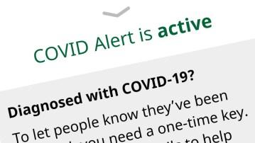 A screengrab of the CovidAlert app