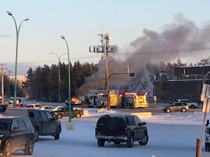 A vehicle on fire outside Yellowknife's CBC studios on November 21, 2020