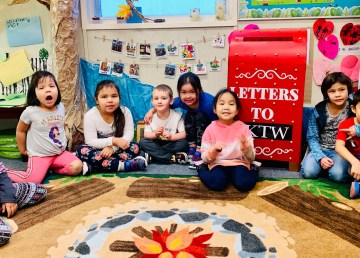 Kaw Tay Whee School students are eagerly awaiting mail delivery. Lea Lamoureux/Kaw Tay Whee School