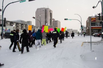 A wellness walk in downtown Yellowknife during National Addictions Awareness week on November 23, 2020