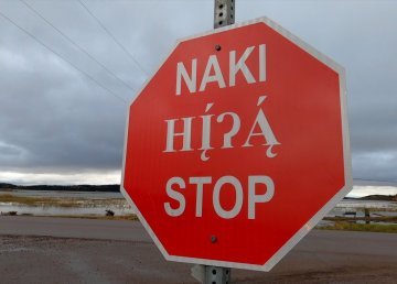 A Fort Chipewyan stop sign