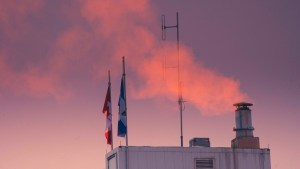 A detail of the downtown Yellowknife skyline in November 2020