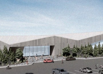 An architect's rendering of the exterior of Yellowknife's proposed new aquatic centre