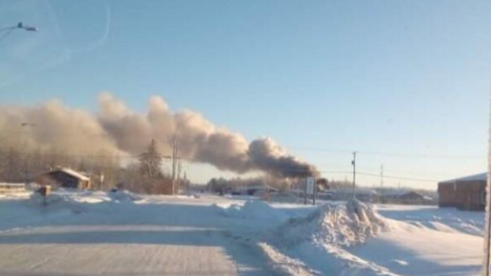 A house fire in Fort Providence on Monday, December 28. Photo: GoFundMe