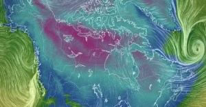 A file graphic shows cold weather over the Northwest Territories in December 2020