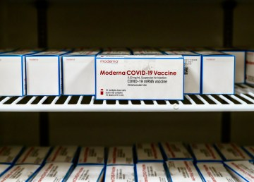 Boxes of Moderna's Covid-19 vaccine