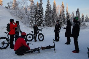 Participants gear up ahead of a fat bike race on Tin Can Hill