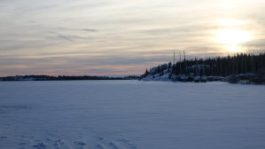 A view of the frozen Great Slave Lake from the Giant Mine boat launch