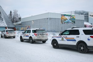 RCMP vehicles outside Yellowknife's Mildred Hall School on December 9, 2020