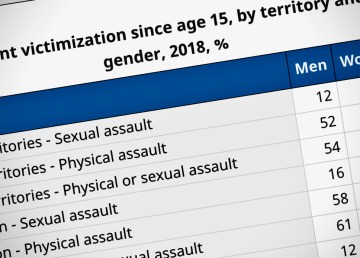 A screengrab of a Statistics Canada report related to assault and sexual assault in the North