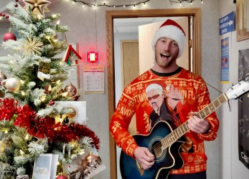 AJ delivers a showstopping performance in the 2020 Cabin Radio Christmas video