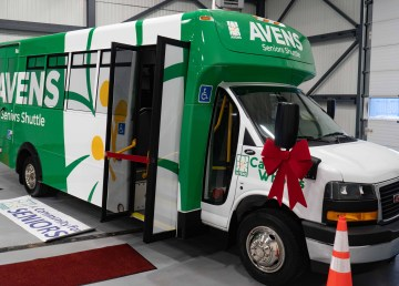 Avens' new seniors' shuttle was unveiled on December 18, 2020 in Yellowknife. Sarah Pruys/Cabin Radio