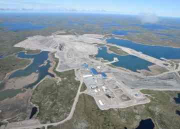 An aerial photo of the Gahcho Kué diamond mine.