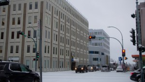 A file photo of the Laing building, home to GNWT offices in downtown Yellowknife