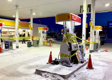 The Shell Gas station in Yellowknife after an apparent collision involving a vehicle