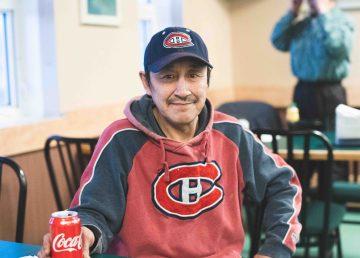Joshua Oliktoak, the mayor of Ulukhaktok, sits in the Arctic Char Inn restaurant in January 2021