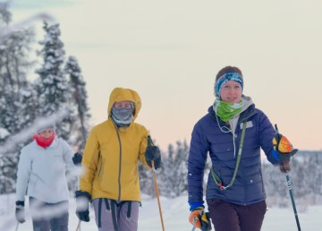 Skiers on the D'Hont Trail in January 2021