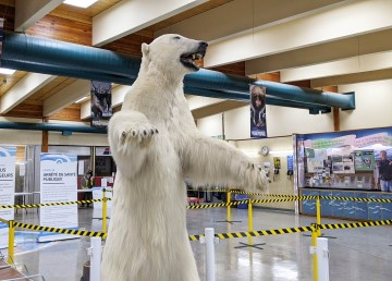 A Covid-19 travel checkpoint at Inuvik's airport in early 2021