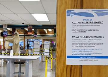 A sign at Inuvik Airport in January 2021