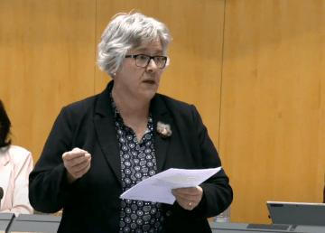 Julie Green at the NWT legislature in February 2021