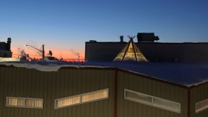 Yellowknife's Tree of Peace Friendship Centre is seen at dawn on February 23, 2021