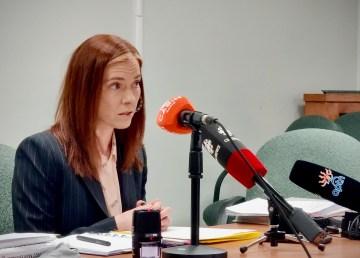 Finance minister Caroline Wawzonek addresses reporters on February 4, 2021
