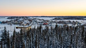 Yellowknife's Old Town is seen from the Summit lookout in February 2021