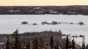 Houseboats on Yellowknife Bay in February 2021