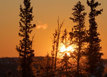 Sunrise in Yellowknife in February 2021