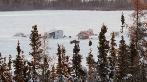 Houseboats are seen behind trees on Yellowknife Bay
