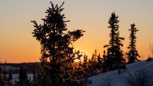 Sunrise in Yellowknife in February 2021