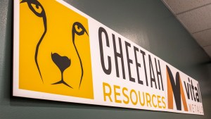 A sign for Cheetah Resources and parent company Vital Metals
