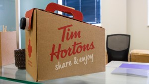 A Tim Hortons coffee box in a Yellowknife office in February 2021