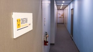 A hallway leads to the Yellowknife office of Cheetah Resources