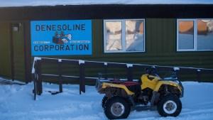 A file photo of the Denosoline Corportation office in Łútsël K'é in February 2021. Sarah Pruys/Cabin Radio