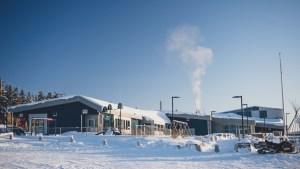 A file photo of the Łutsel K'e Dene School in February 2021. Sarah Pruys/Cabin Radio
