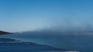 A file photo of the Snowdrift River beside Łútsël K'é in February 2021. Sarah Pruys/Cabin Radio