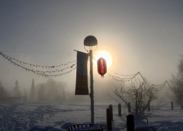 A lantern hangs from a post in Yellowknife's Somba K'e Park on February 6, 2021