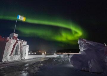Yellowknife's winter garden under the aurora in March 2021