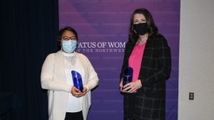 Doreen Arrowmaker (left) and Tammy Roberts, Wise Women award winners for the Tłı̨chǫ and North Slave regions. Meaghan Brackenbury/Cabin Radio