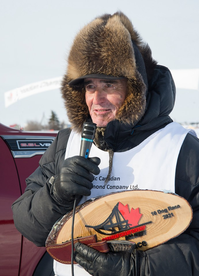A file photo of Grant Beck giving a speech as the winner of the 67th Canadian Championship Dog Derby.