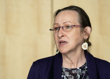 Premier Caroline Cochrane speaks at a press conference on April 21, 2021. Sarah Pruys/Cabin Radio