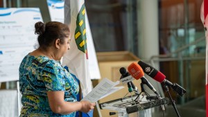Dr Kami Kandola speaks at a press conference on April 21, 2021. Sarah Pruys/Cabin Radio