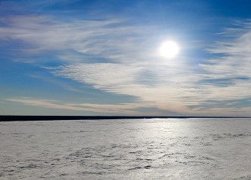 The frozen Mackenzie River on April 15, 2021