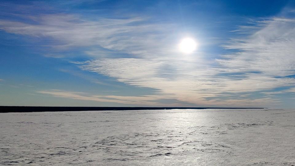 The frozen Mackenzie River on April 15, 2021