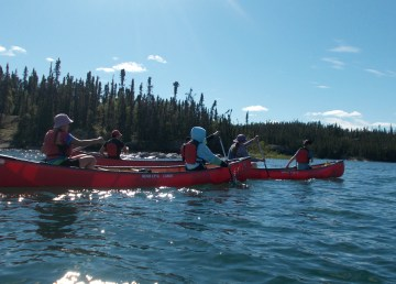Participants of Northern Youth Leadership's 2020 canoe tripping program, an NWT On The Land Collaborative grant recipient. Photo: Northern Youth Leadership.
