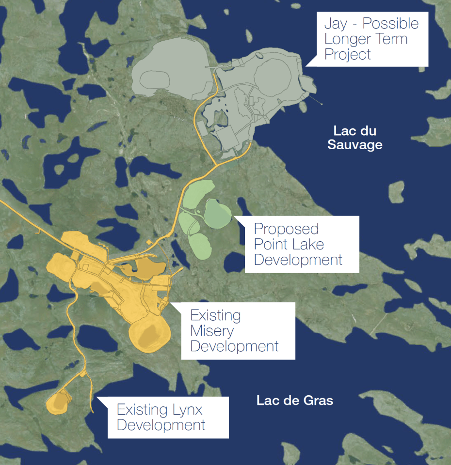 Projects and proposed developments at the Ekati diamond mine site as depicted in a briefing document published by the Arctic Canadian Diamond Company.