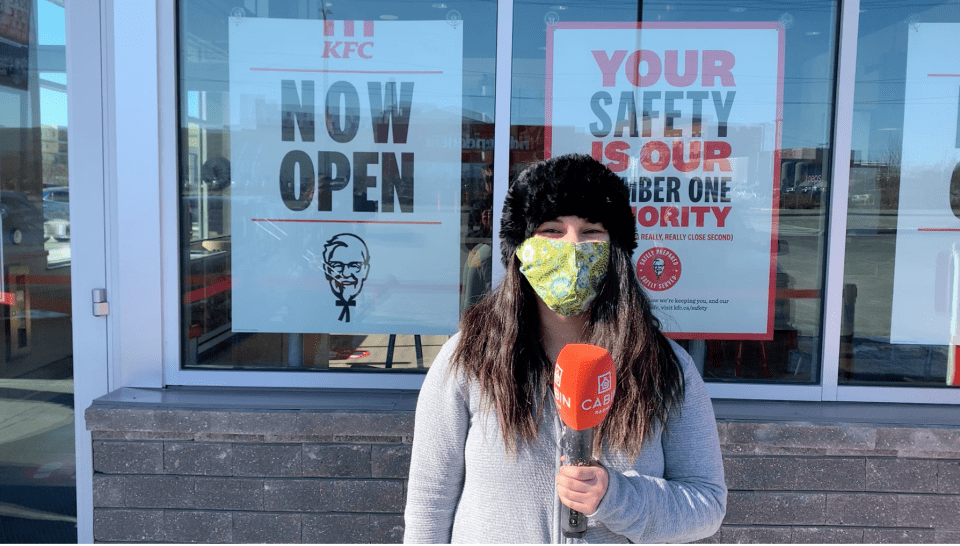 Jestine Amora, the first person to be served at Yellowknife's new KFC
