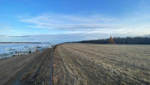 A photo posted to Facebook by Jackie Whelly of the rising confluence of the Mackenzie and Liard Rivers by Fort Simpson on Friday, May 7, 2021.
